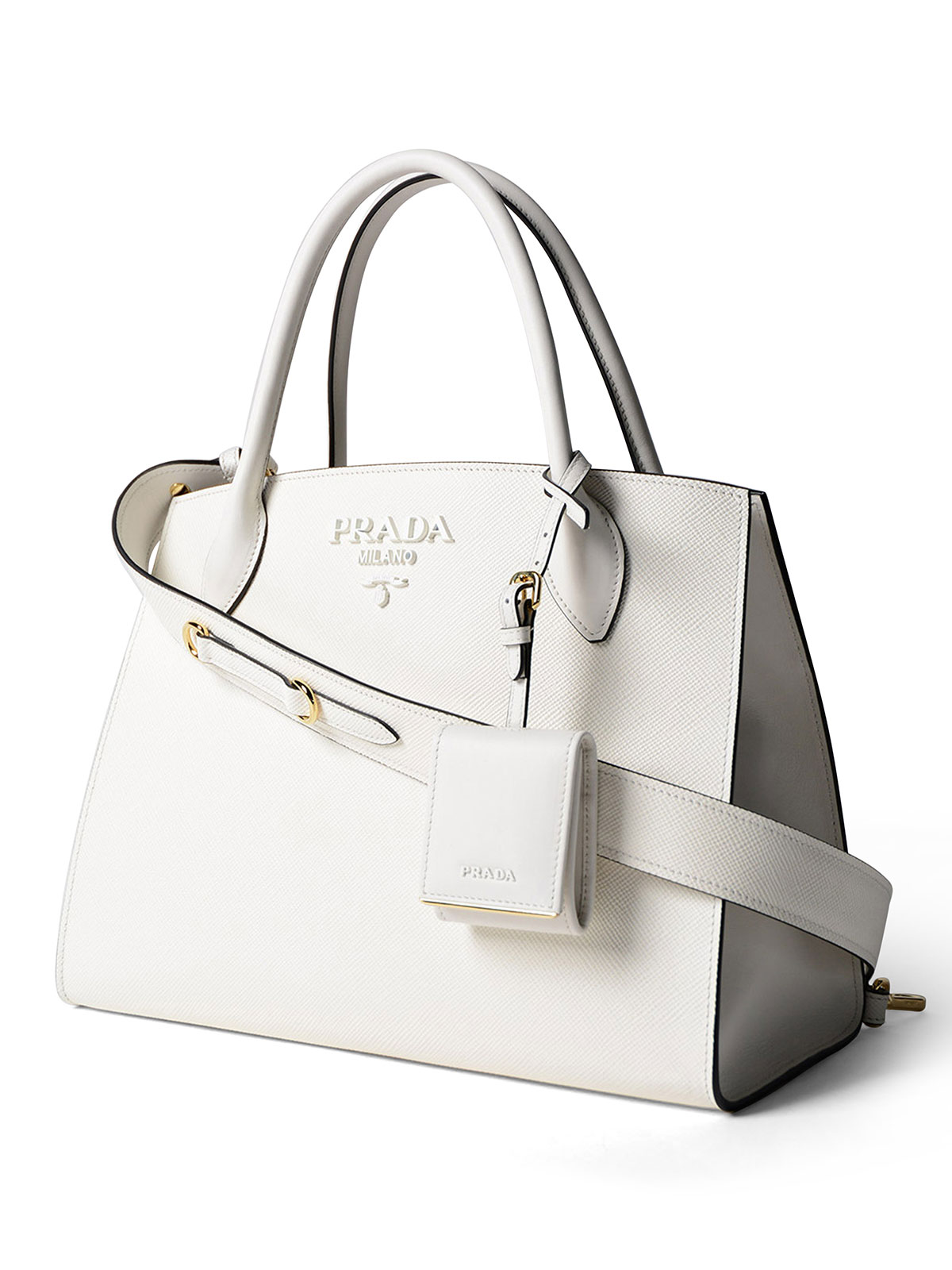 Monochrome white leather tote by Prada - totes bags | iKRIX