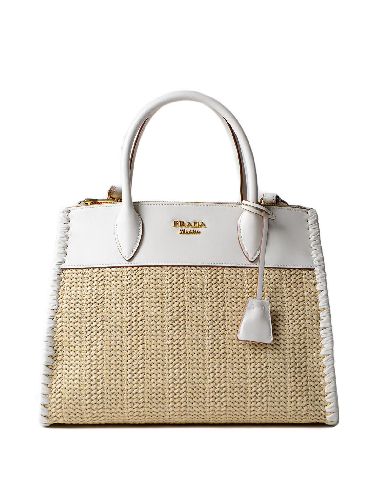 421d7978f1bb Prada - Paradigme leather and raffia tote - totes bags ...