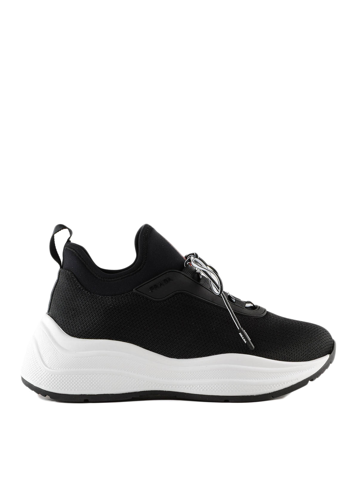 9d217a82ab37b Prada - Black mesh sneakers with chunky sole - trainers - 3E64253KTP 967