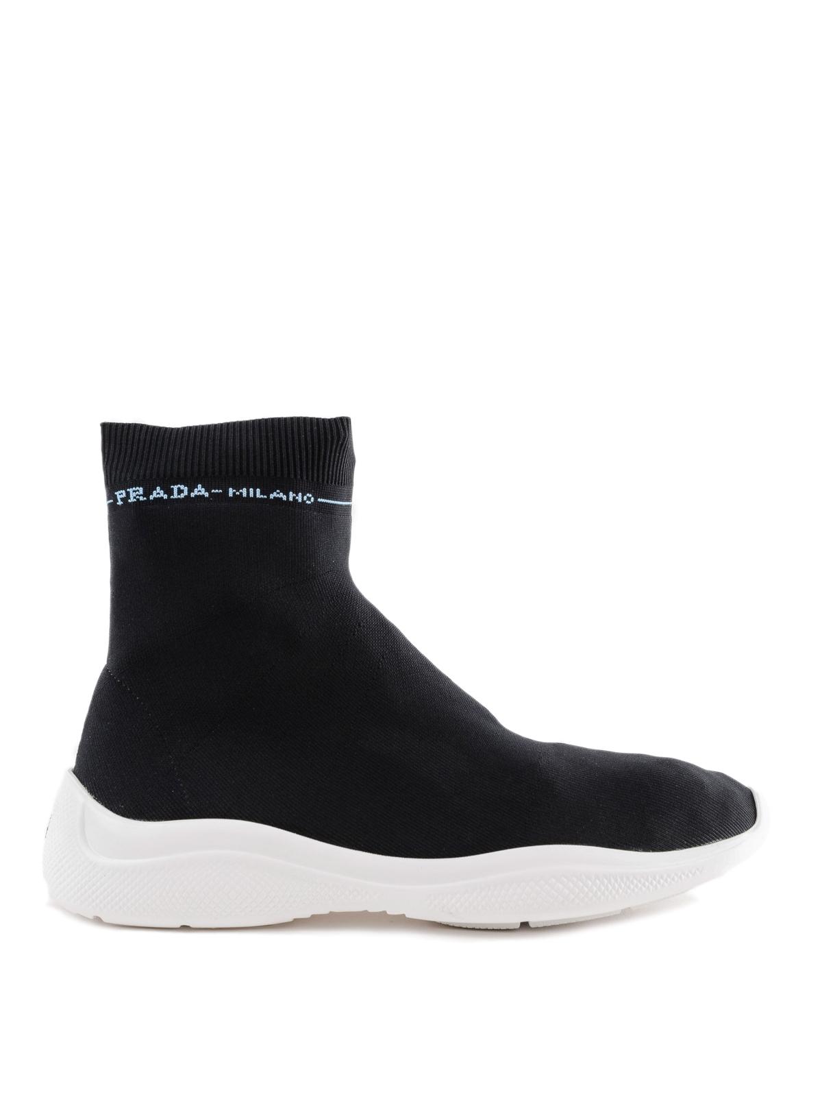 Black stretch fabric sock slip-ons