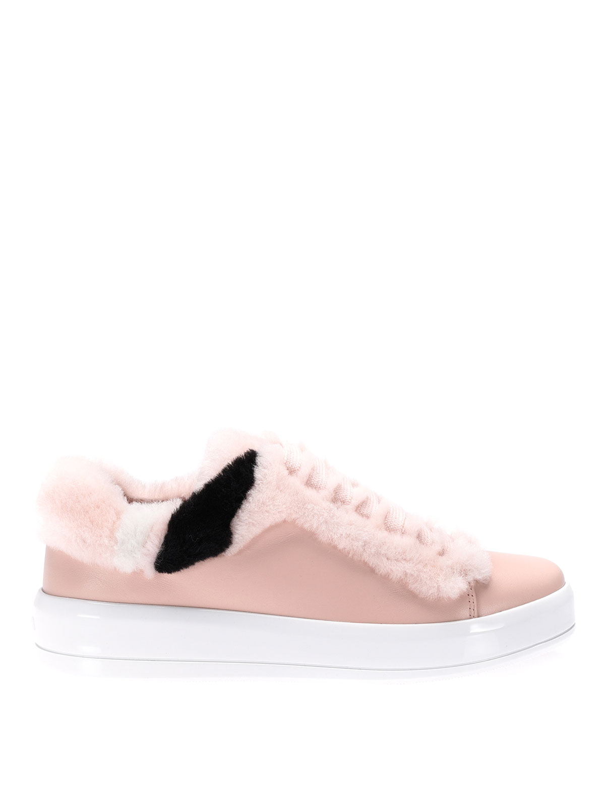 Fur detailed soft leather sneakers