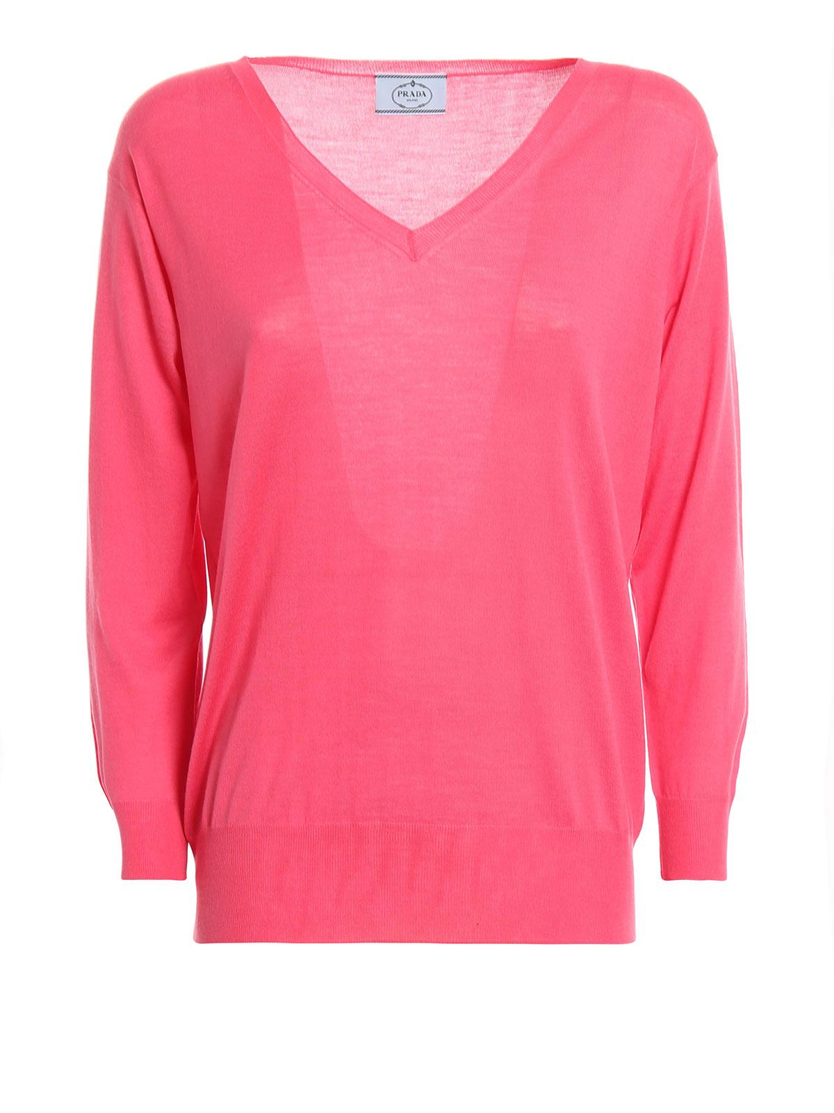 fc25fefaf46e Prada - T-Shirt À Col V Fuchsia Pour Femme - Col en V - P24Q77 J2N 029