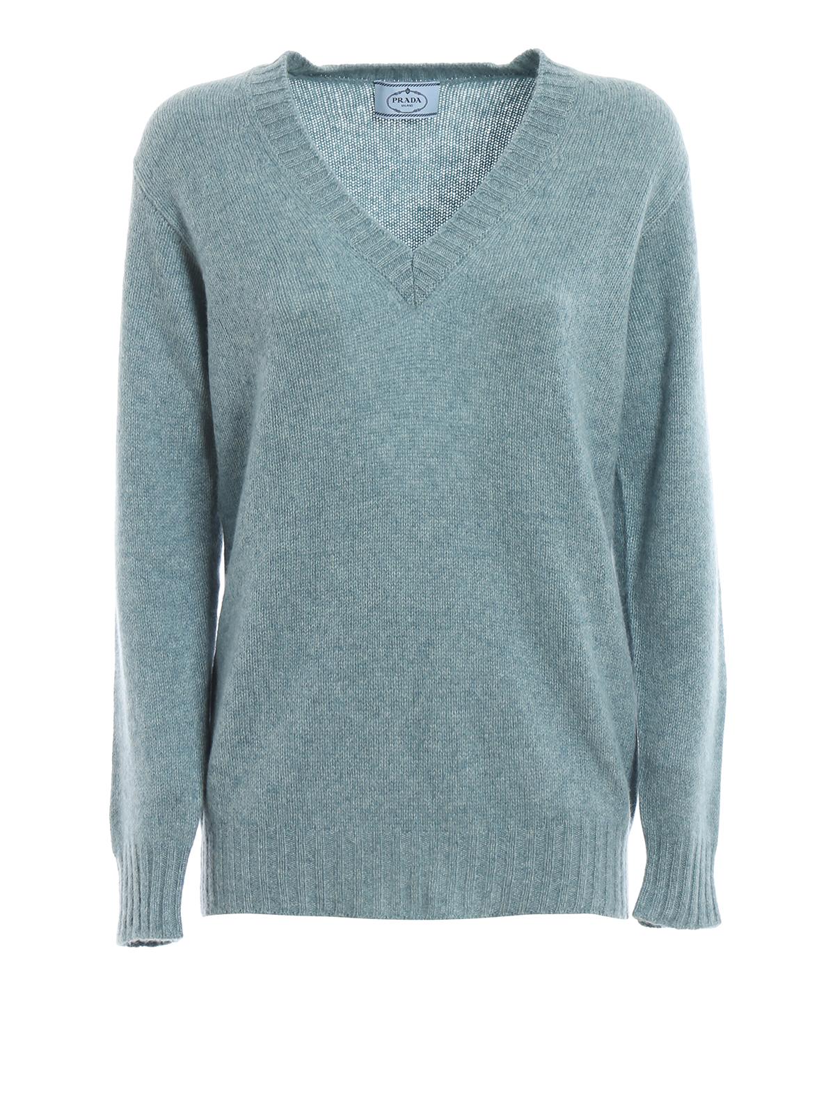 Prada Sage Green Melange Cashmere V-Neck Sweater