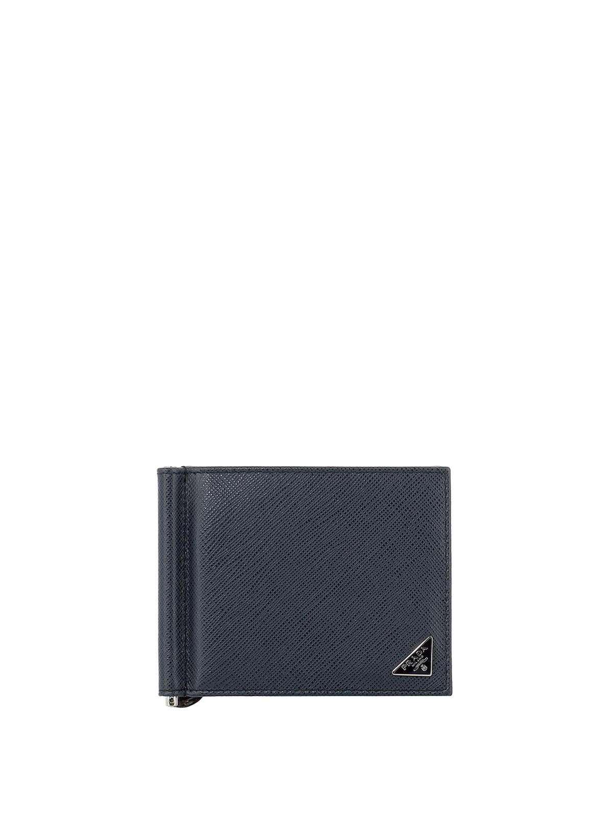 84034c9b31de Prada - Blue saffiano wallet with money clip - wallets & purses ...