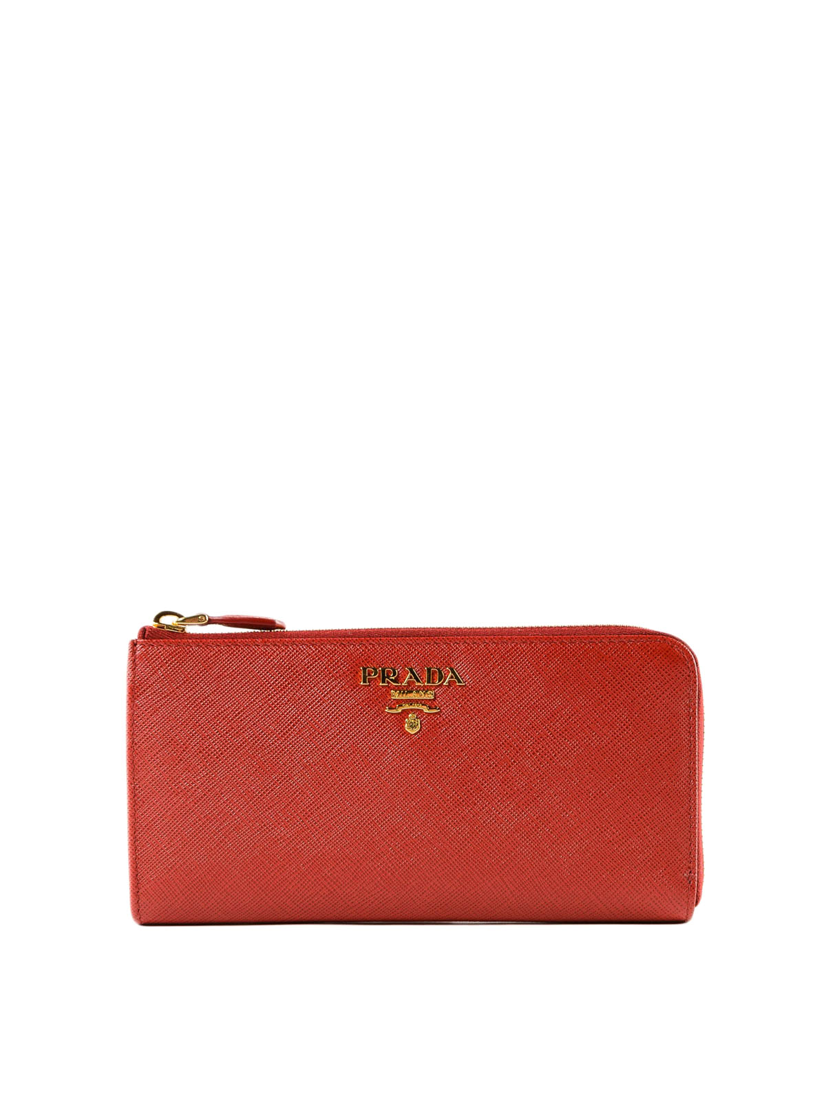 d1ab4c263e67 PRADA: wallets & purses - Red saffiano leather continental cardholder