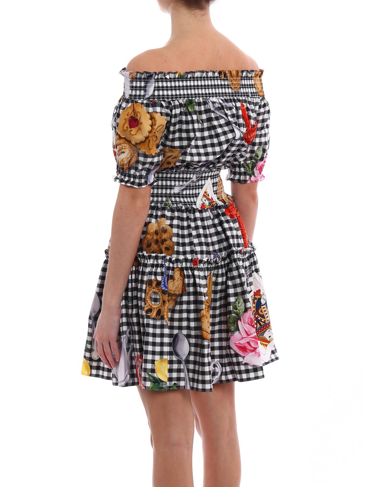 2eadc31d Dolce & Gabbana - Print poplin off the shoulder dress - short ...
