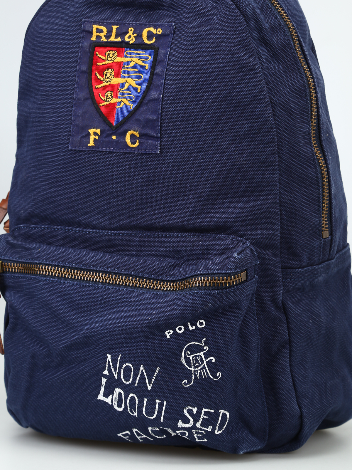 8e4c8ca7dfb Printed blue canvas backpack with patch shop online  POLO RALPH LAUREN
