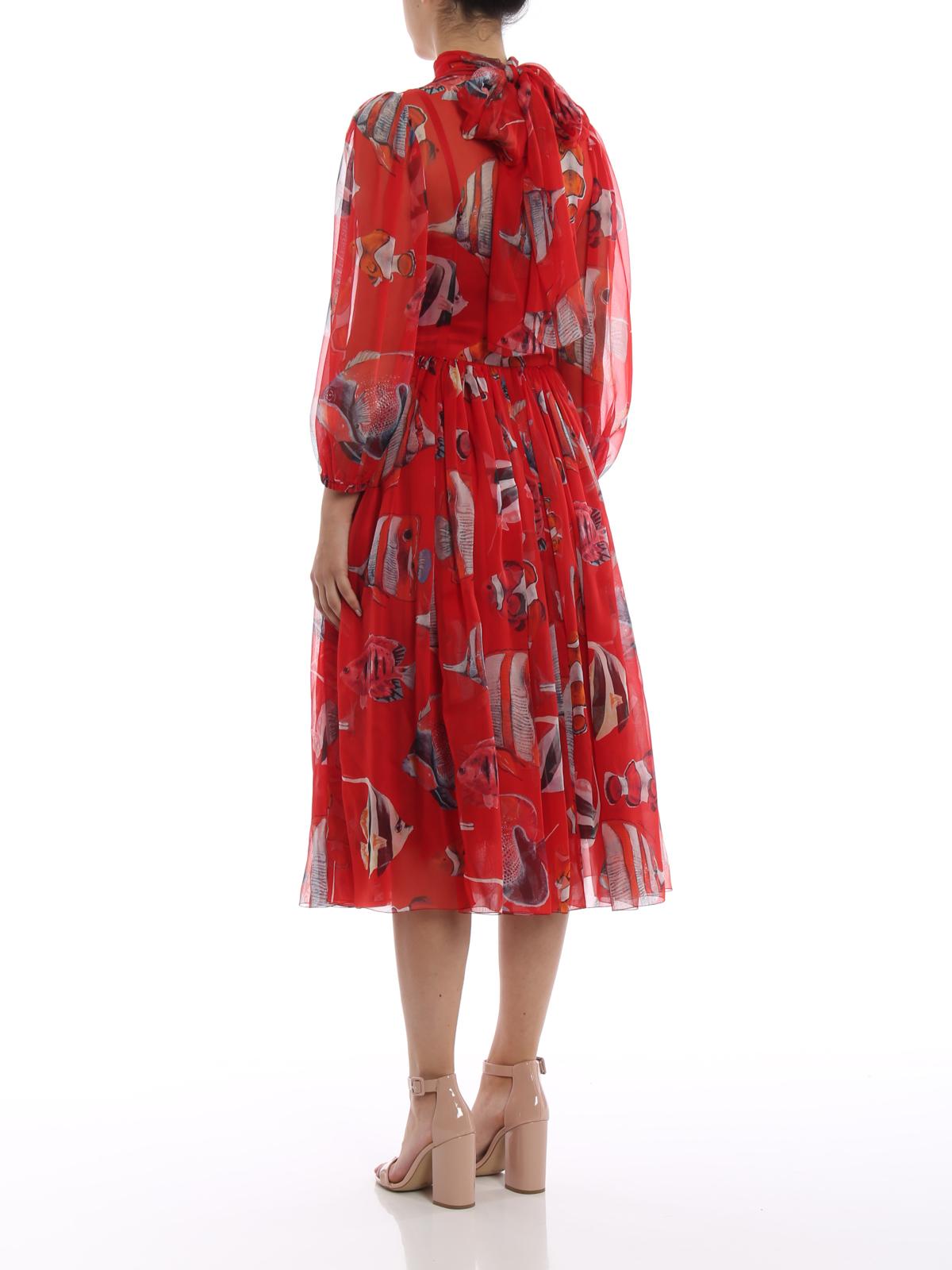 6c3a8a39 Dolce & Gabbana - Printed silk chiffon tie-neck dress - cocktail ...