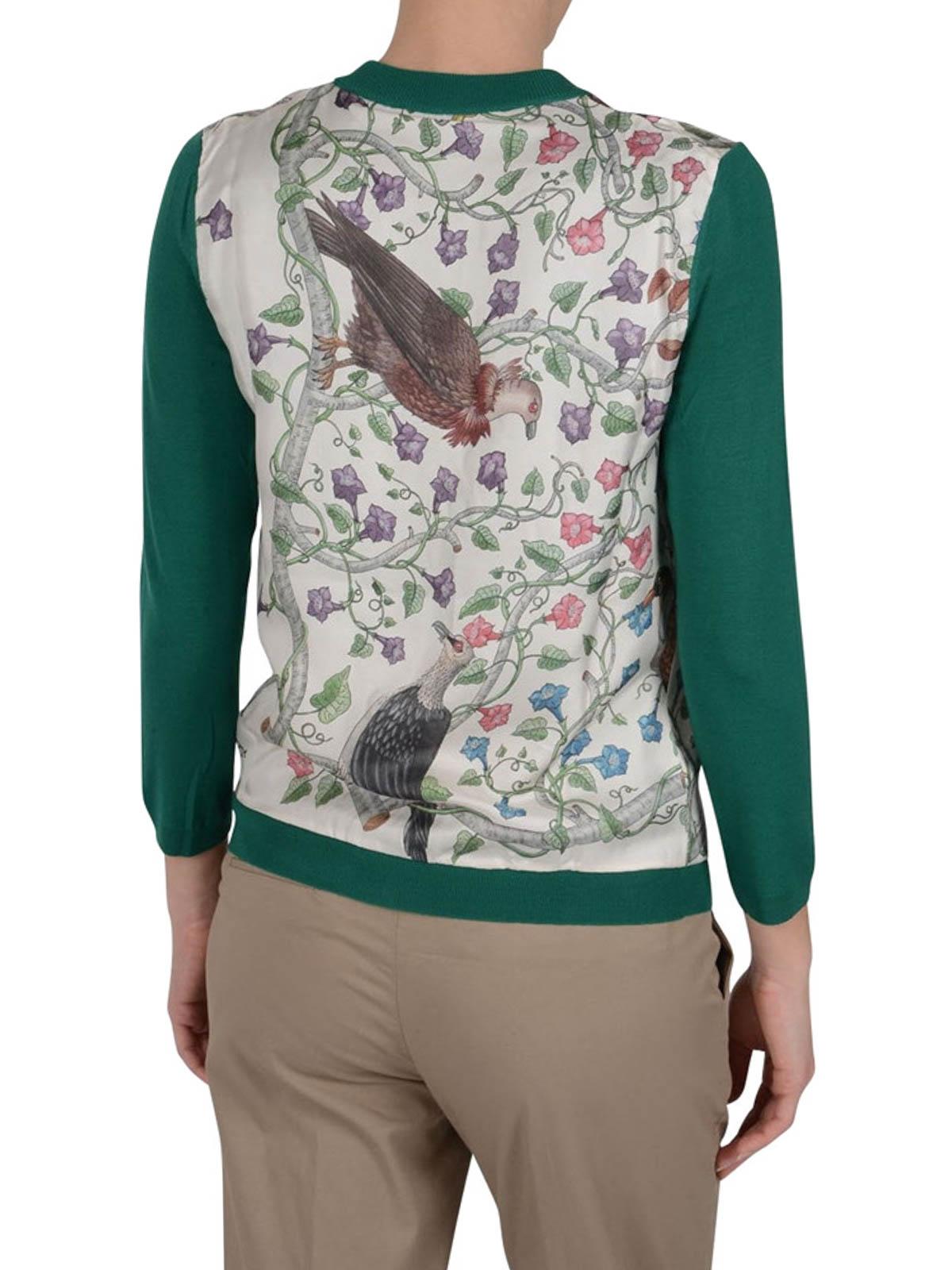 Gucci Printed Silk Panel Cardigan Cardigans 411347xr1129047