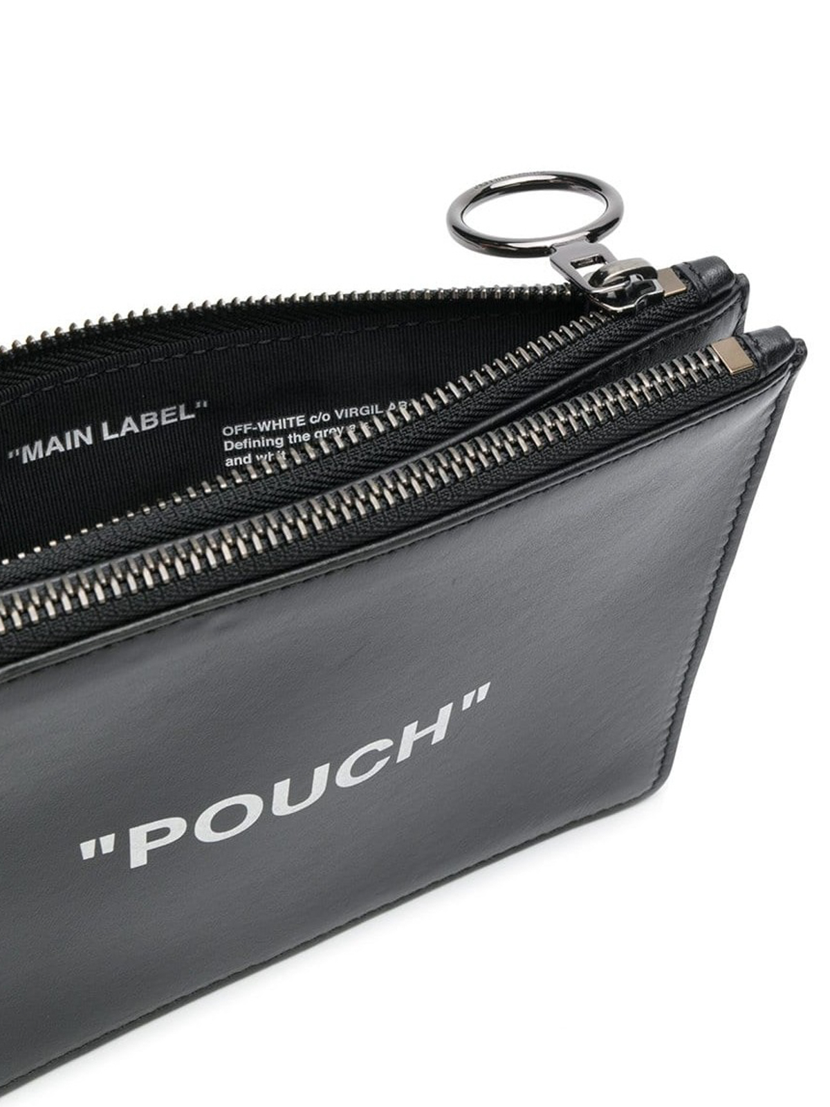 30ea73f4771 Off-White - Quote Flat black leather clutch - clutches ...