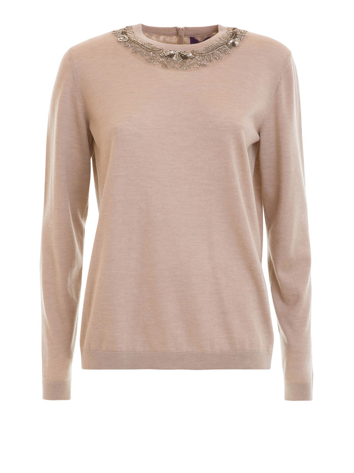 30c3131c91b Ralph Lauren - Pull Col Rond Beige Pour Femme - Pull col rond ...
