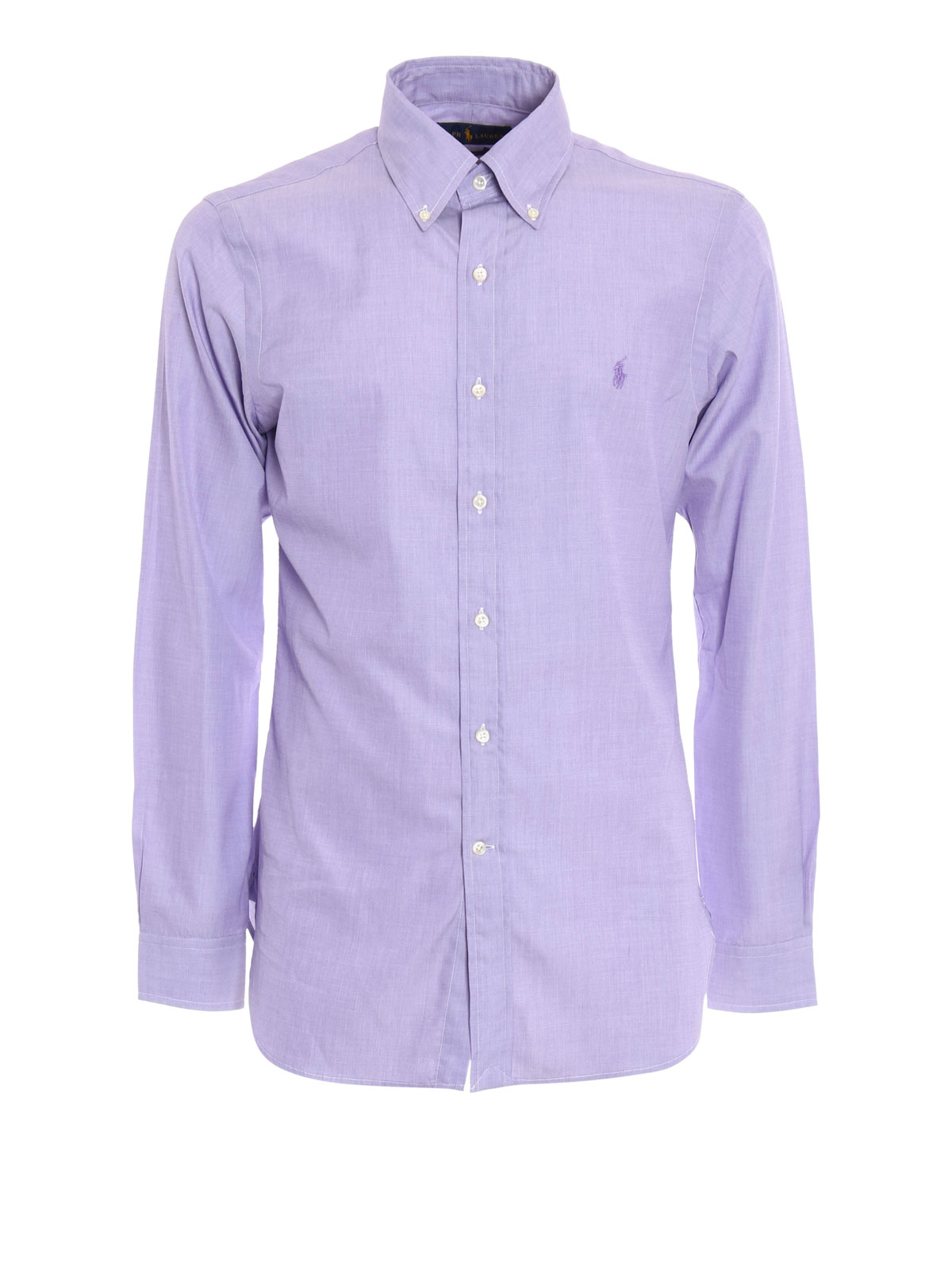 Cotton slim fit shirt with logo by ralph lauren shirts for Slim fit cotton shirts