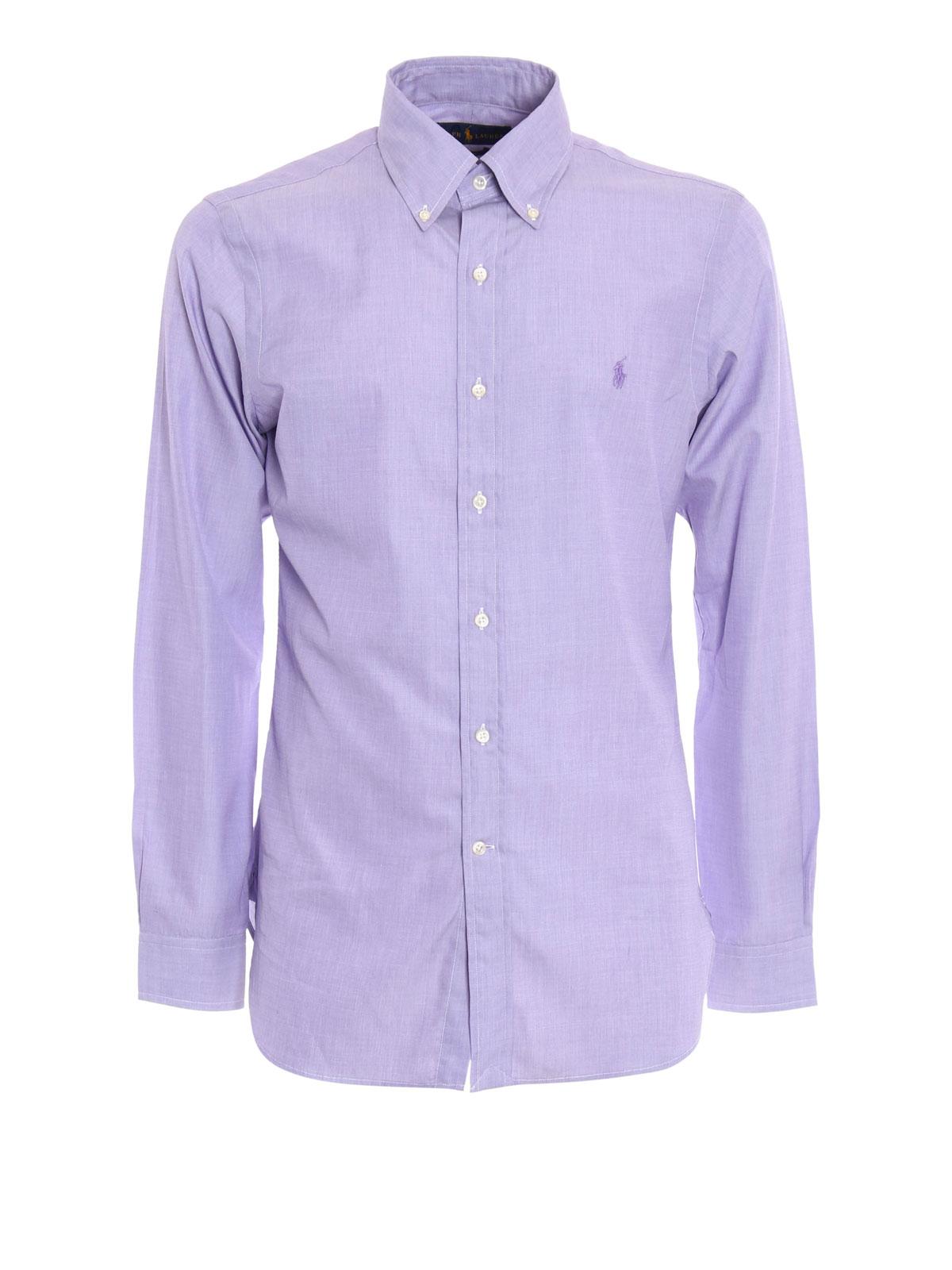 cotton slim fit shirt with logo by ralph lauren shirts. Black Bedroom Furniture Sets. Home Design Ideas
