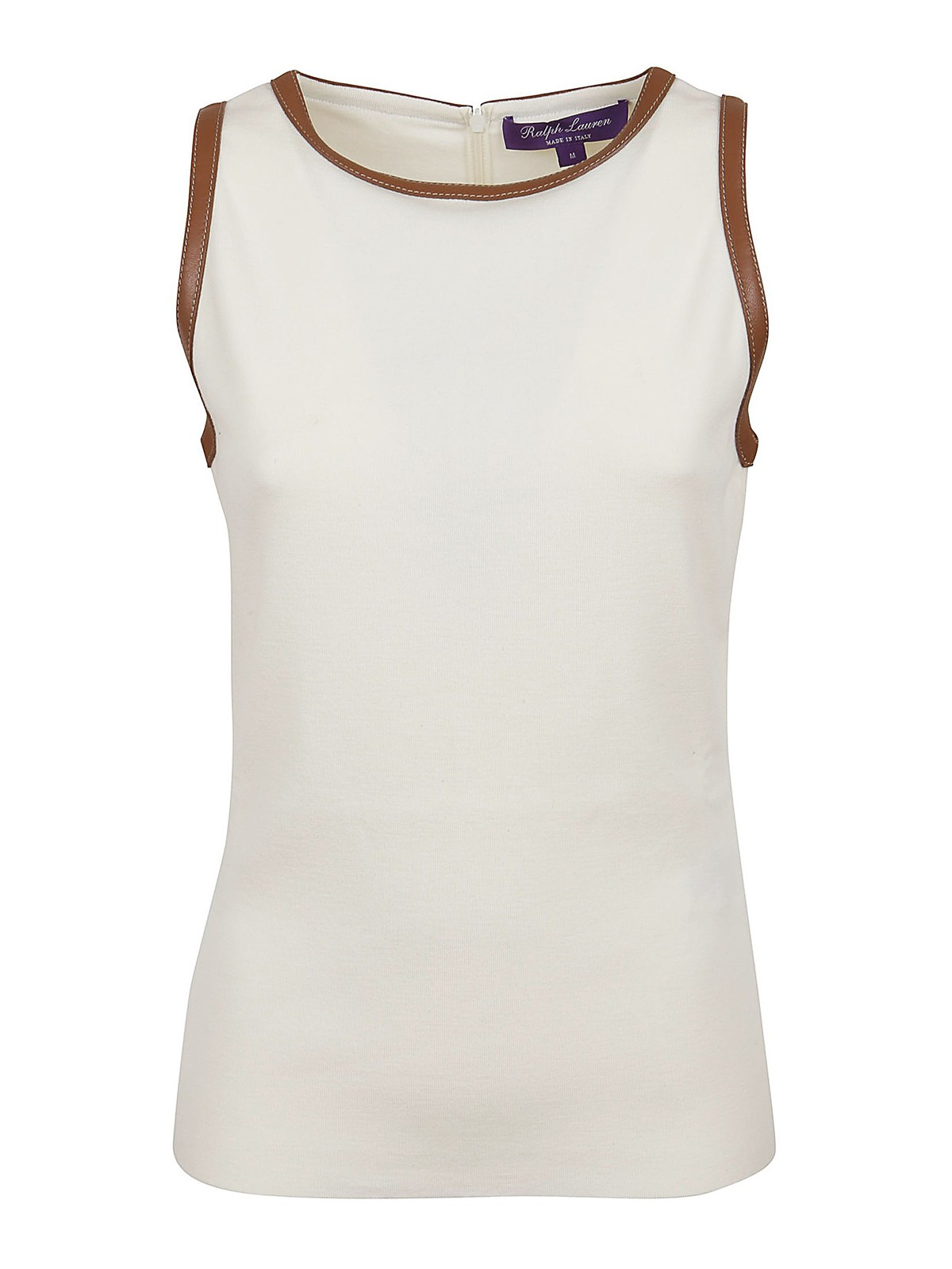Ralph Lauren LAMBSKIN TRIM TANK TOP