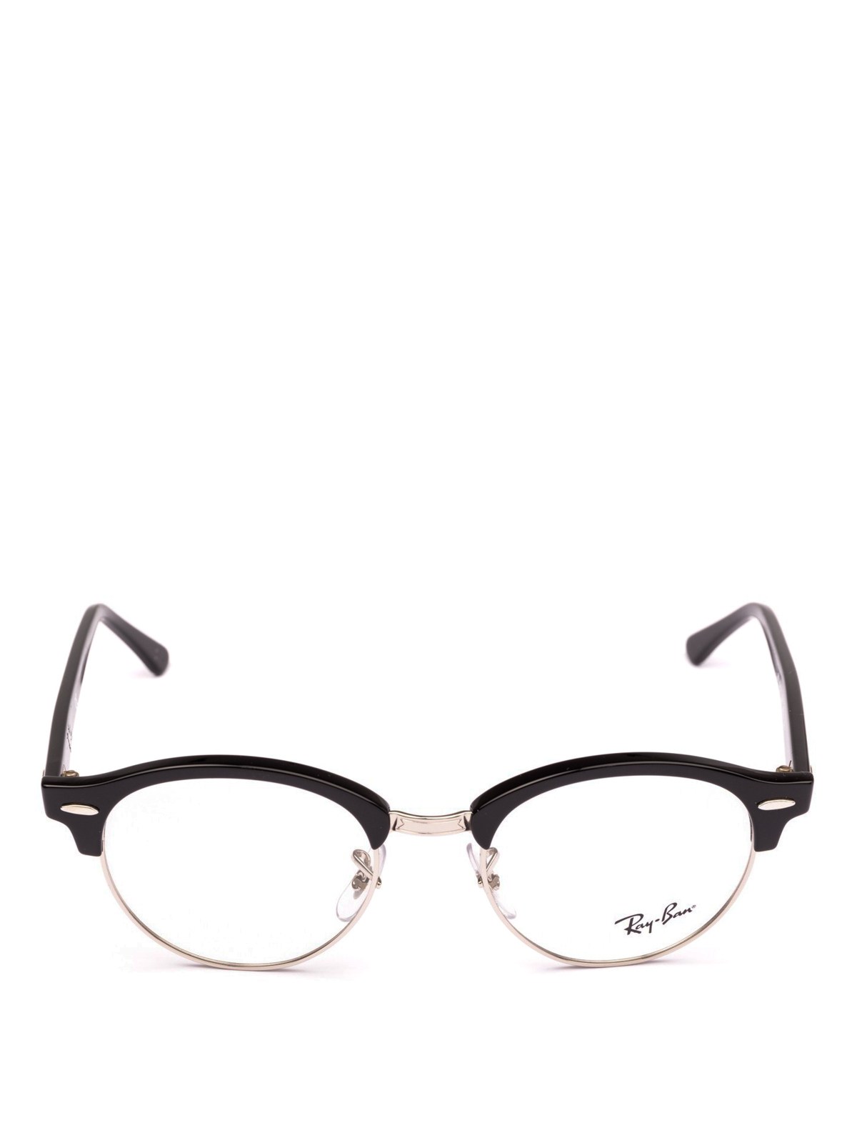 Ray Ban - Black acetate and metal half frame glasses - glasses ...