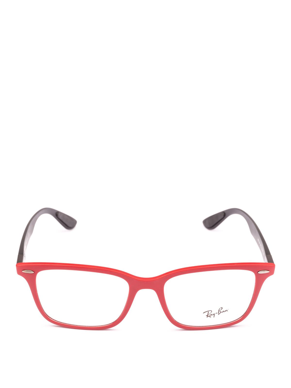 Ray Ban - Red and black frame rectangular glasses - glasses - RB7144 ...