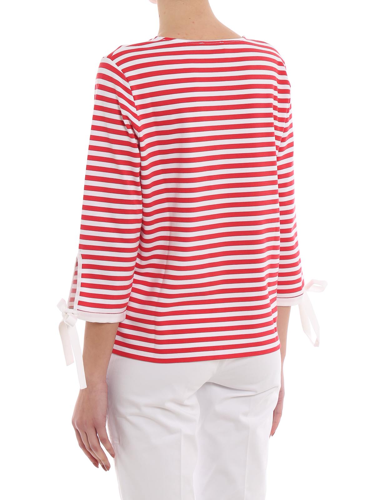a basso prezzo 57b6d e5a59 Fay - Blusa a righe bianche e rosse con fiocchi - bluse ...