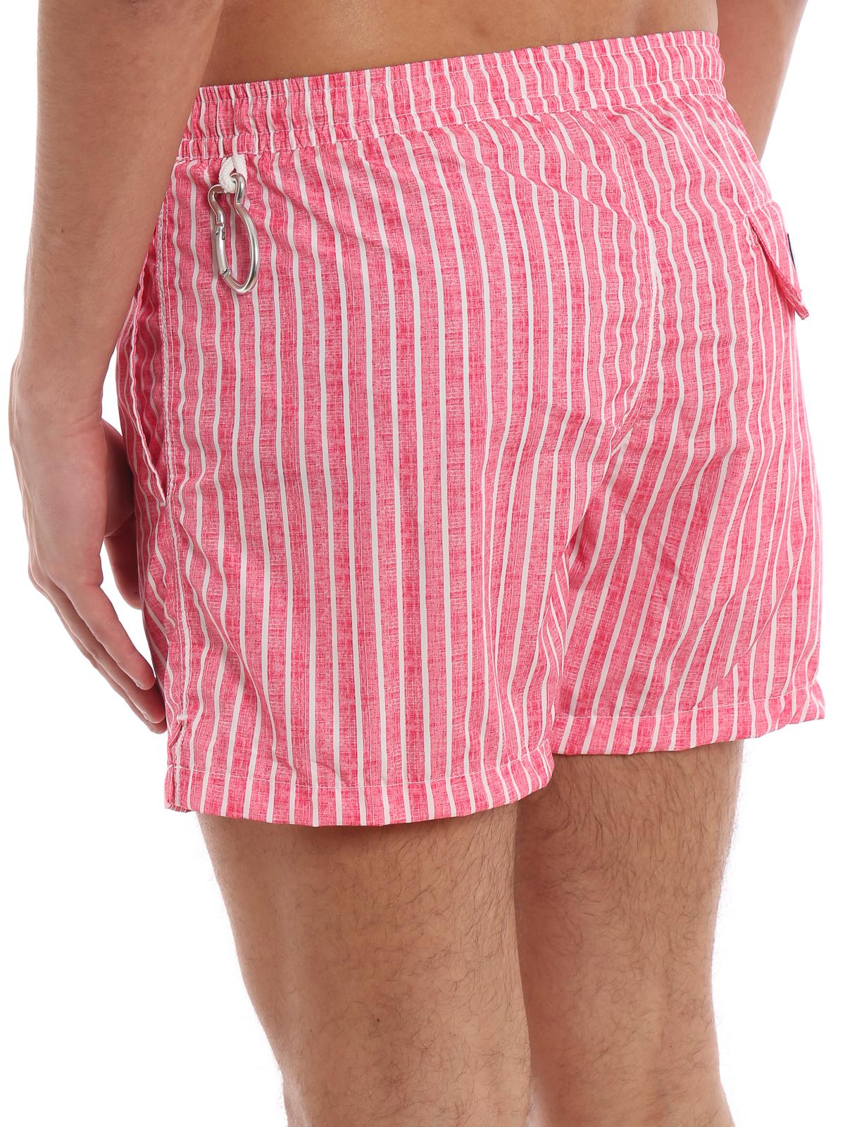 c8a28d6429 Fedeli - Red and white striped swim shorts - Swim shorts & swimming ...