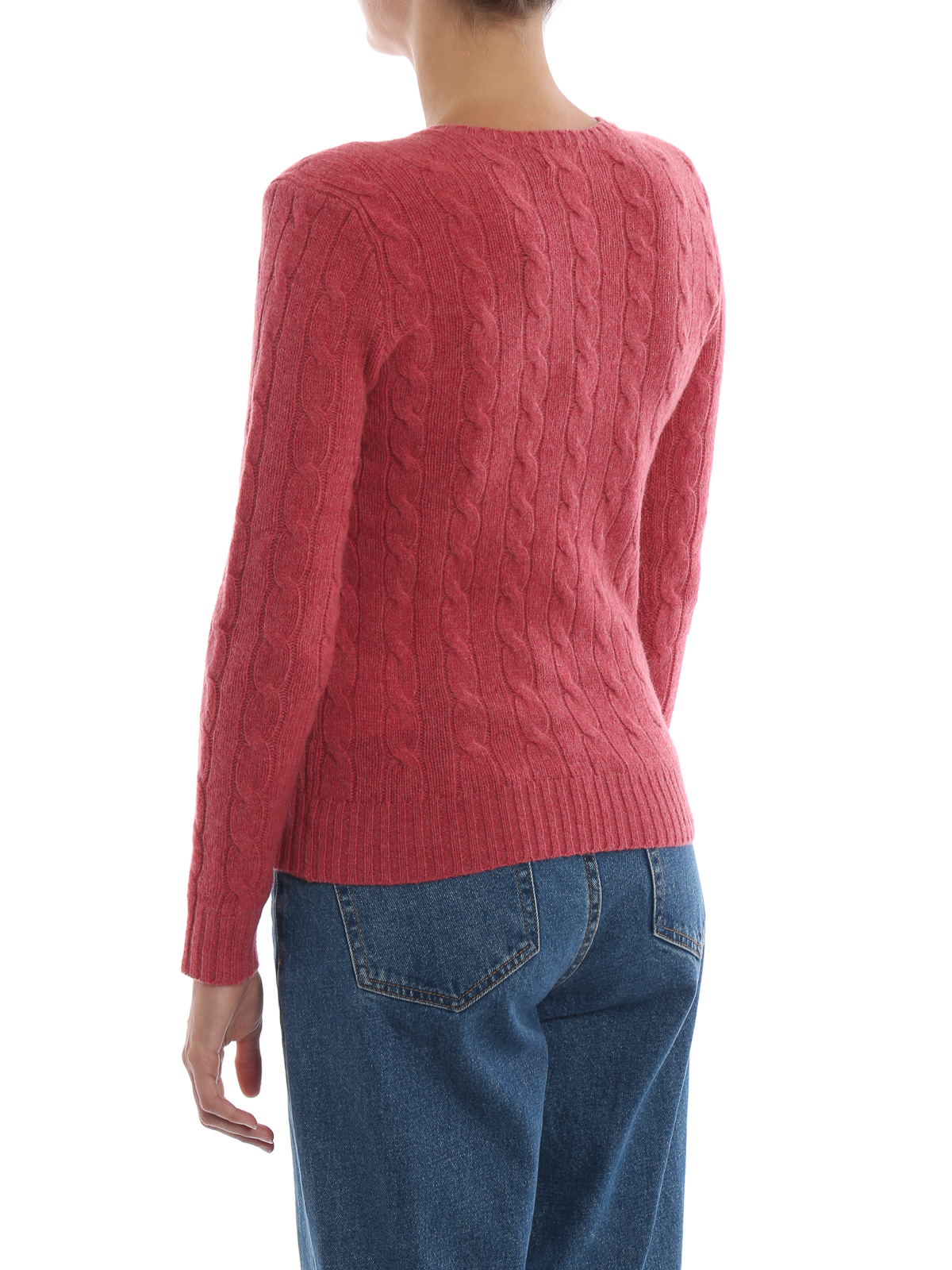 Polo Ralph Lauren Pull Rosso In Merino E Cashmere A Trecce
