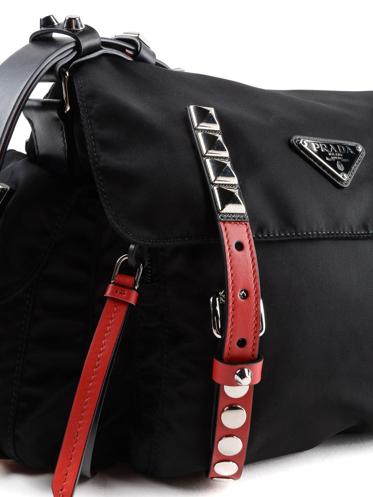 4828c23062d7 Prada - Red detailed studded nylon shoulder bag - shoulder bags ...