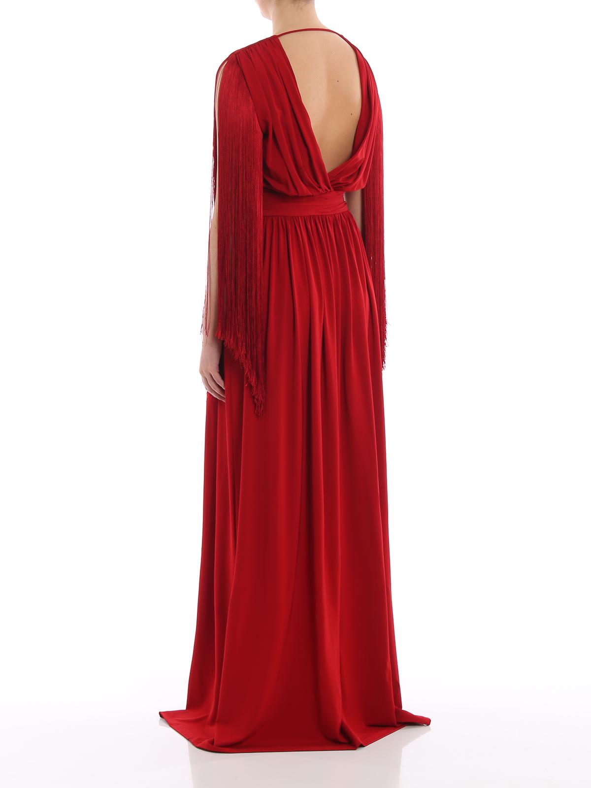 bbbf0d12c34c Alberta Ferretti - Abito lungo rosso in viscosa con frange - abiti ...