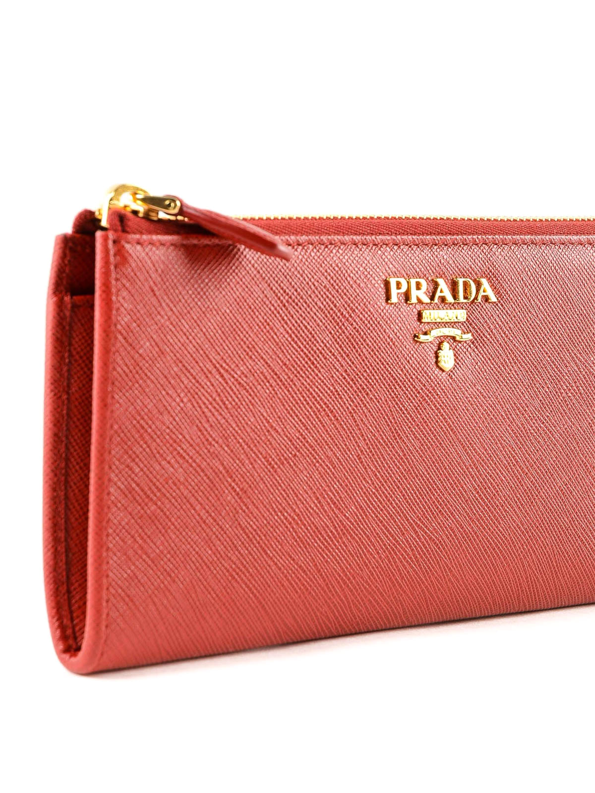 4acf651b5571 Prada - Red saffiano leather continental cardholder - wallets ...