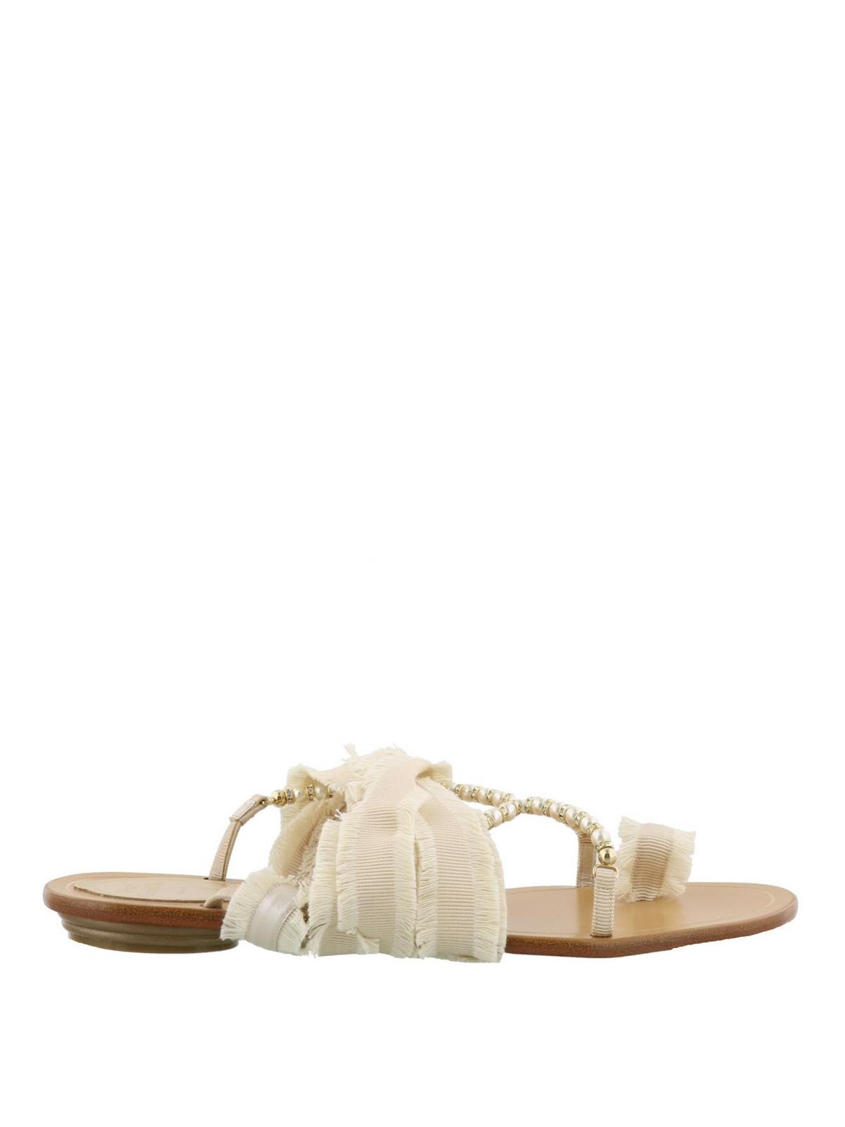 e3899f7dbd437 Rene Caovilla - Ribbon and pearl flat thong sandals - flip flops ...