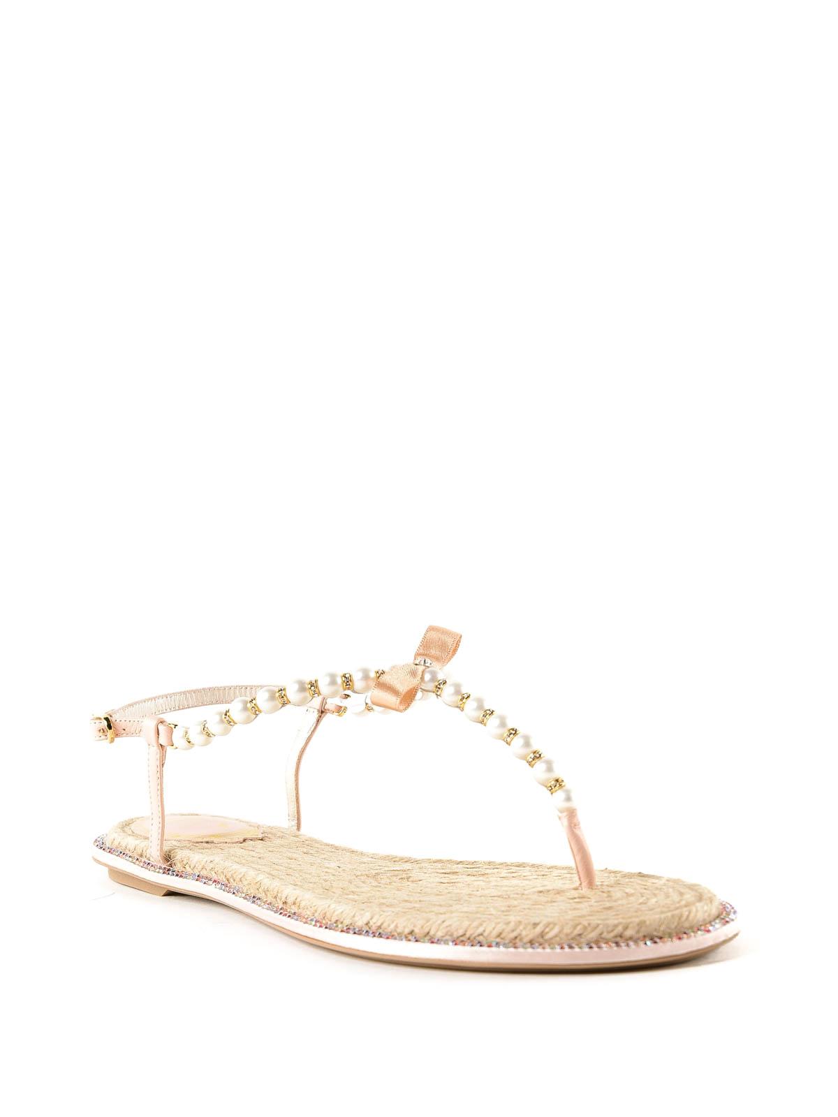 1df7e16185c RENE CAOVILLA  flip flops online - Eliza pearl and crystal thong sandals