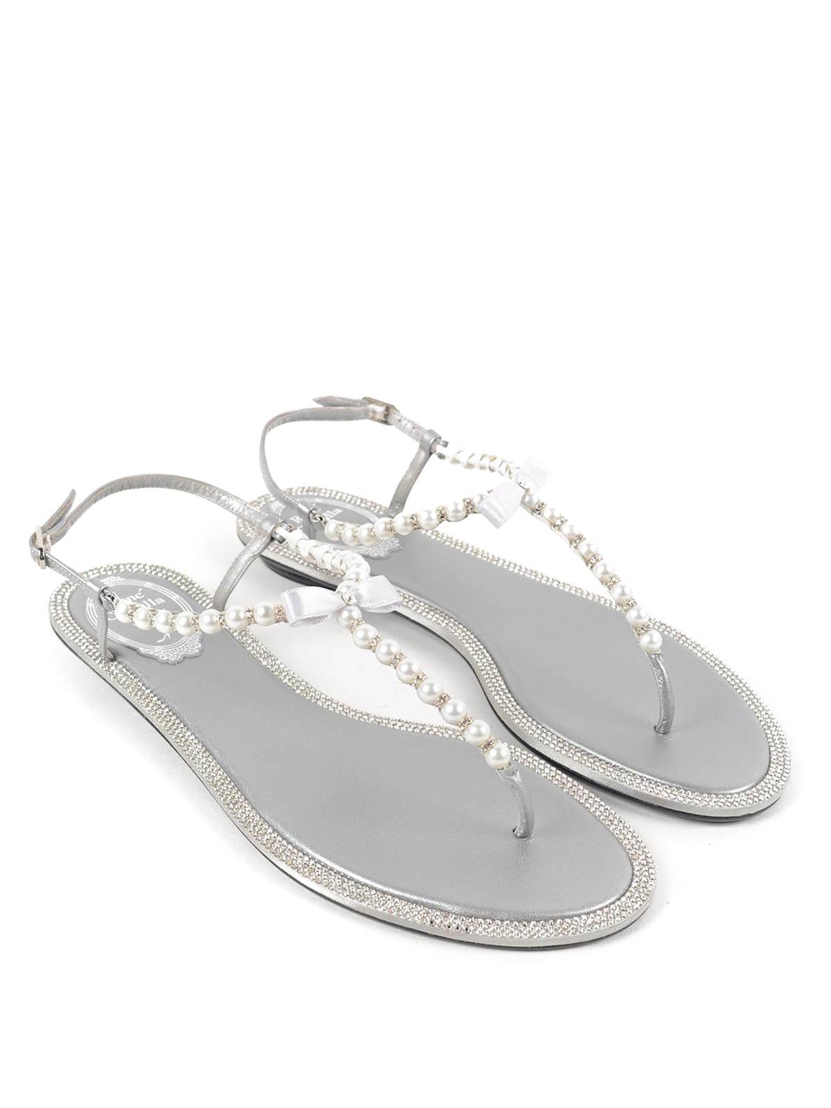 40c3813c326a Rene Caovilla - Pearl and rhinestone sandals - sandals - C07598 GREY