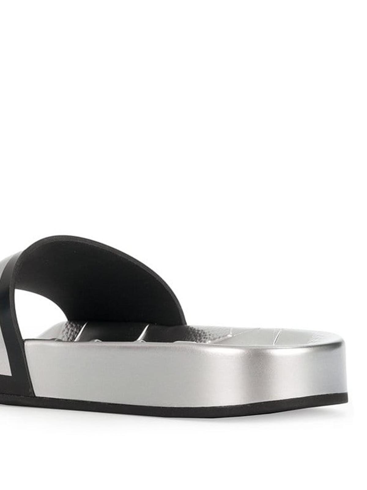 1a67eae60a4 Jimmy Choo - Rey/F logo metallic silver rubber slides - sandals ...