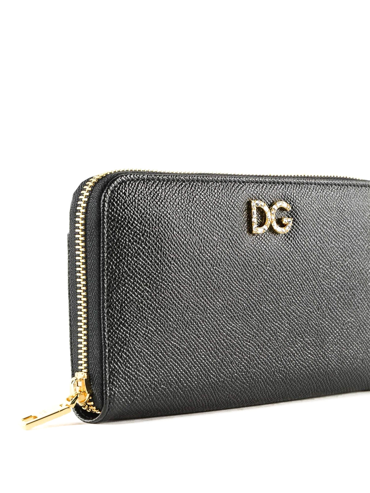11be1354fee Rhinestone DG black Dauphine leather wallet shop online: DOLCE & GABBANA