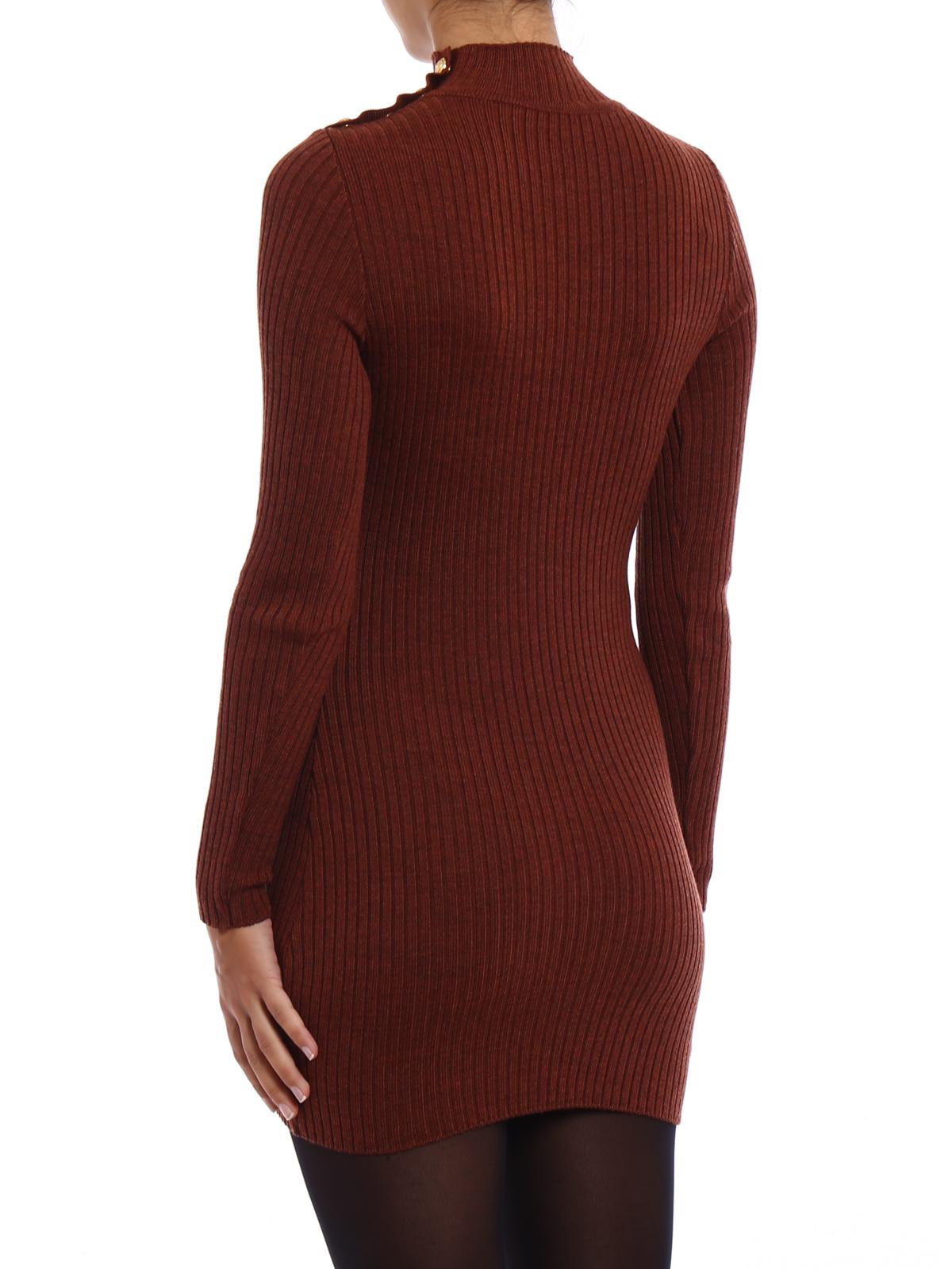 a992e590607b Balmain  abiti corti online - Abitino in maglia di lana a coste