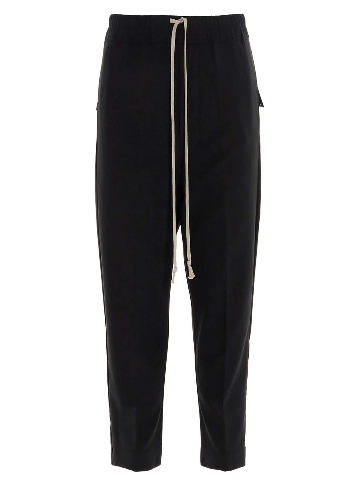 Rick Owens DRAWSTRING CROPPED ASTAIRES PANTS IN BLACK