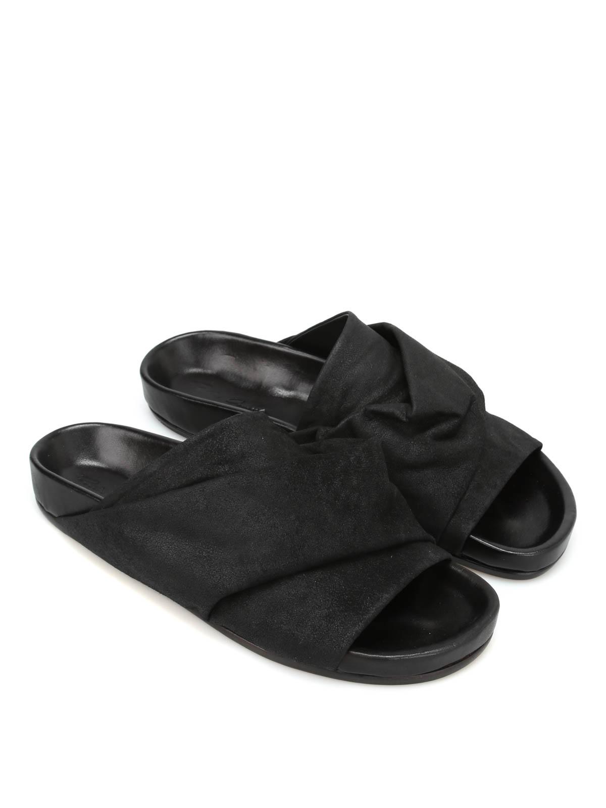 350fbef1890 RICK OWENS HUN  sandals online - Mobius Granola nubuk slide sandals