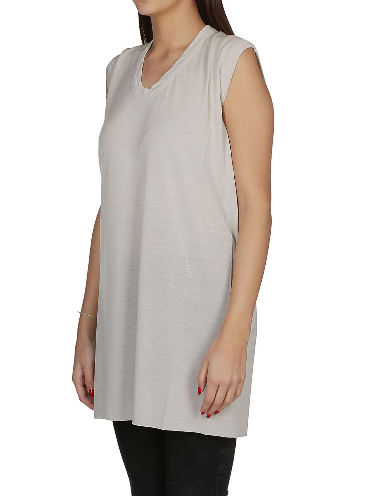 e7156f09e8bfca RICK OWENS HUN  Tops   Tank tops online - V-neck white silk blend