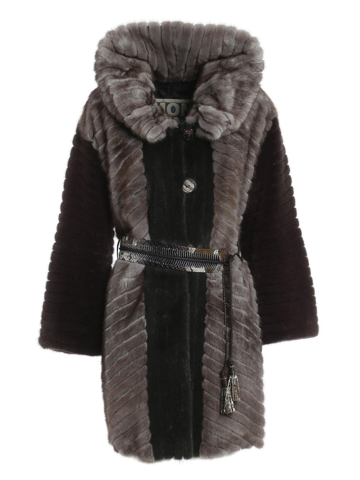 Rindi Mink Fur And Python Belt Coat Fur Amp Shearling