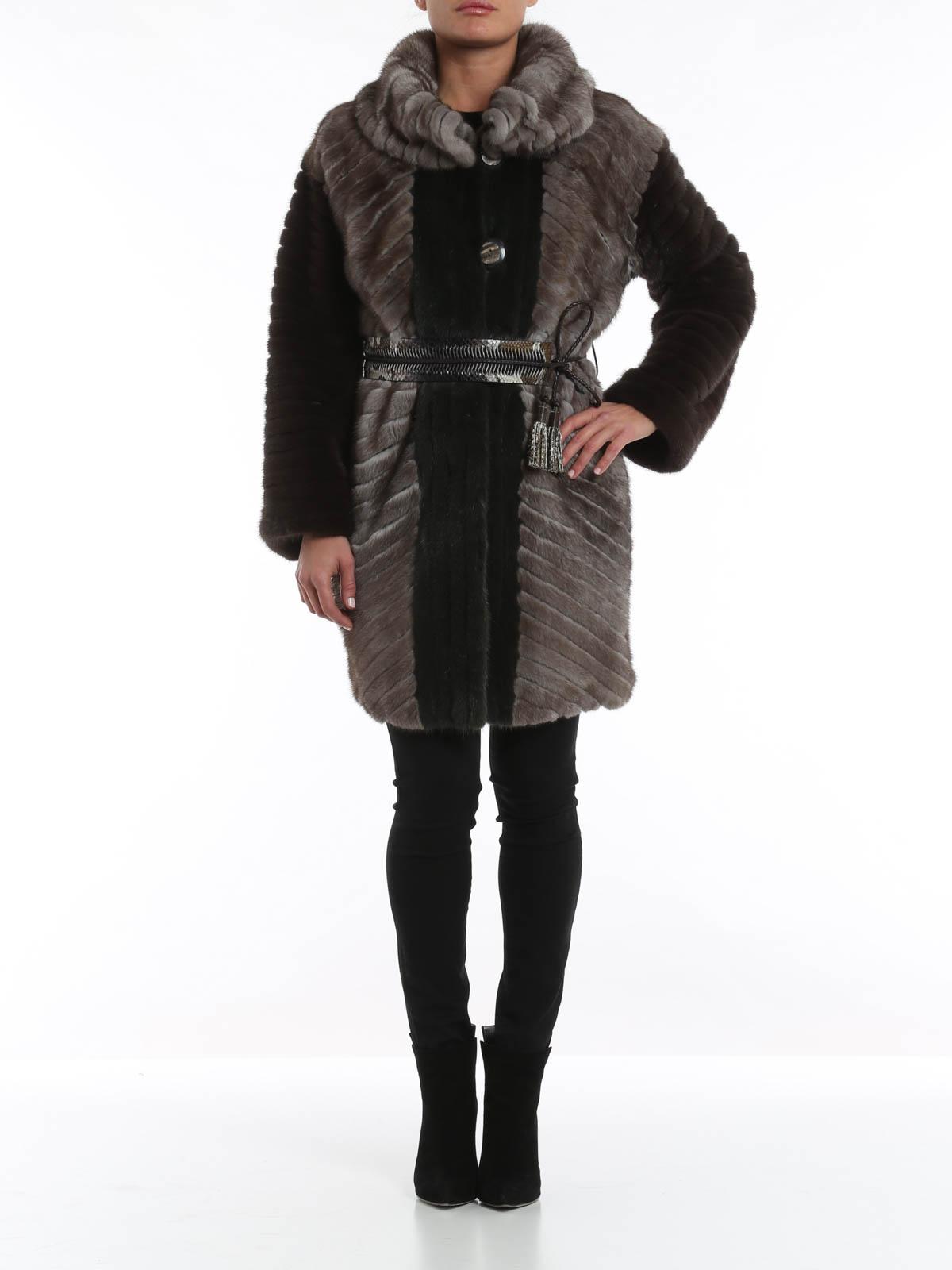 Mink fur and python belt coat by Rindi - Fur & Shearling Coats | iKRIX