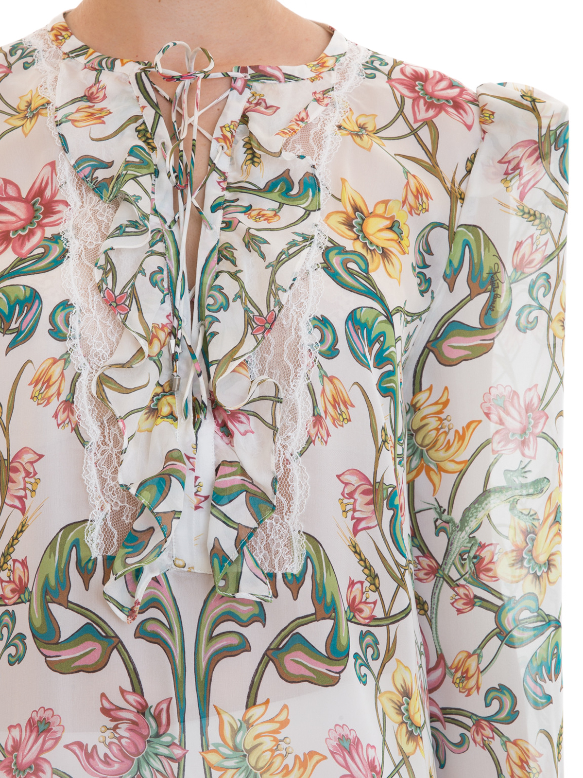aad26d389427f Roberto Cavalli - Ruched floral silk blouse - blouses - EWT721CTE06D0745