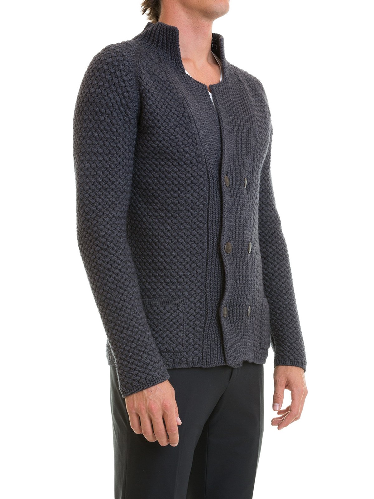 Wool blend double-breasted cardigan by Roberto Cavalli - cardigans ...