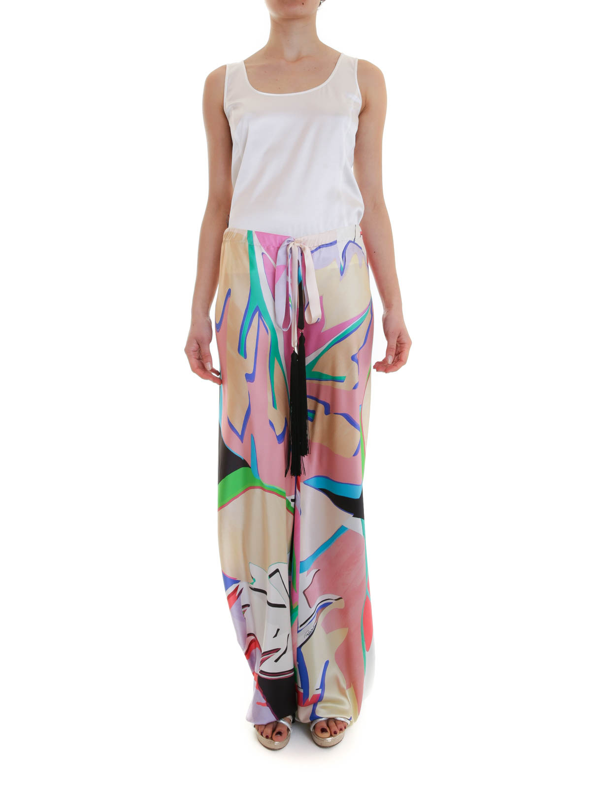 roberto cavalli on line printed silk palazzo trousers by