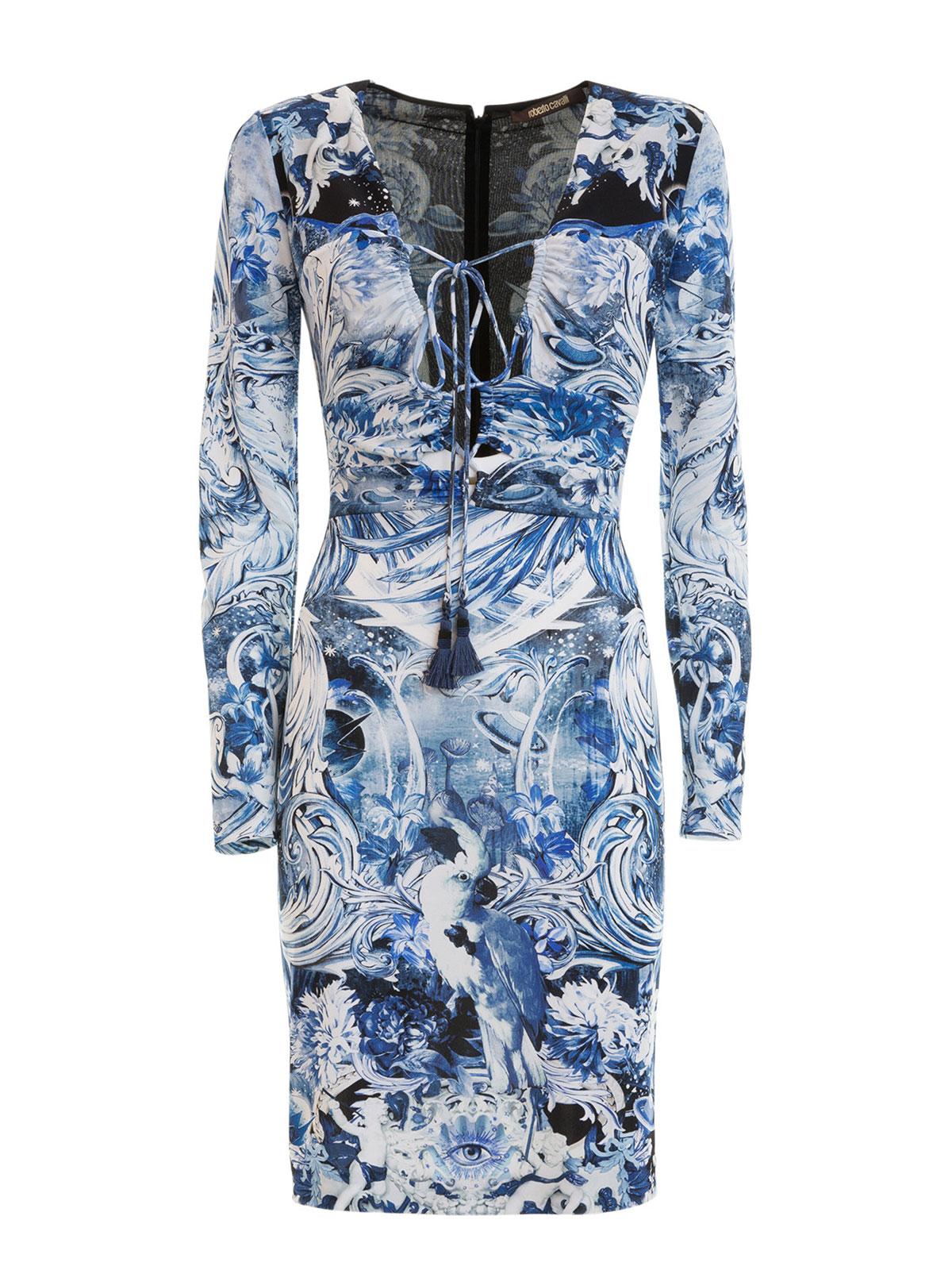 knielanges kleid phoenix hellblau von roberto cavalli knielange kleider ikrix. Black Bedroom Furniture Sets. Home Design Ideas