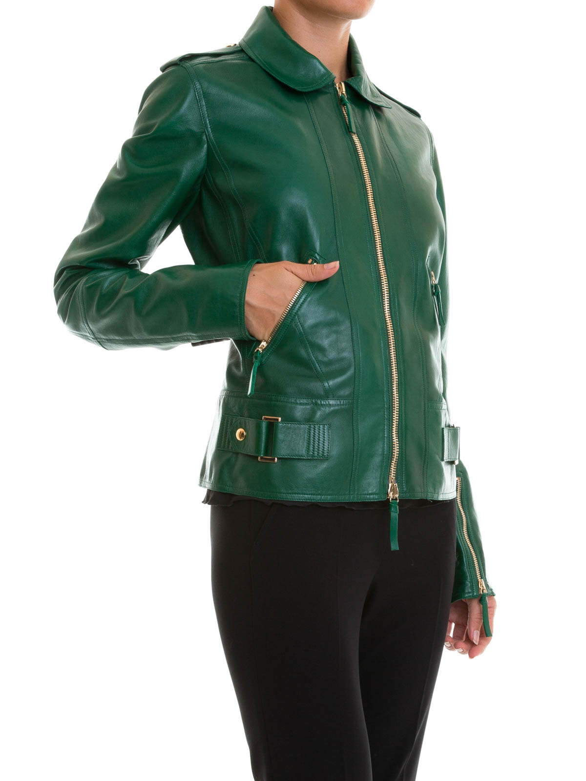 Roberto Cavalli amazing leather jacket,flattering fit. Sleeves arę pleated at the ends the embellished with gold stud. Gold Roberto Cavalli logo on the bottom right .