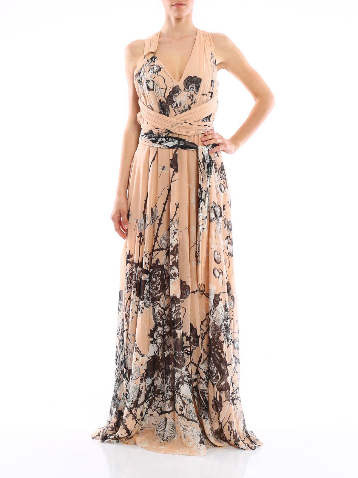 Abiti Cerimonia Just Cavalli.Roberto Cavalli Floral Print Long Silk Dress Evening Dresses