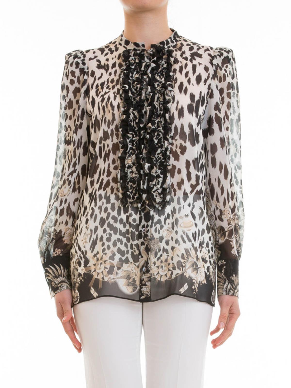 6aa7656cdccc3 ROBERTO CAVALLI  shirts online - Animal print silk ruched shirt