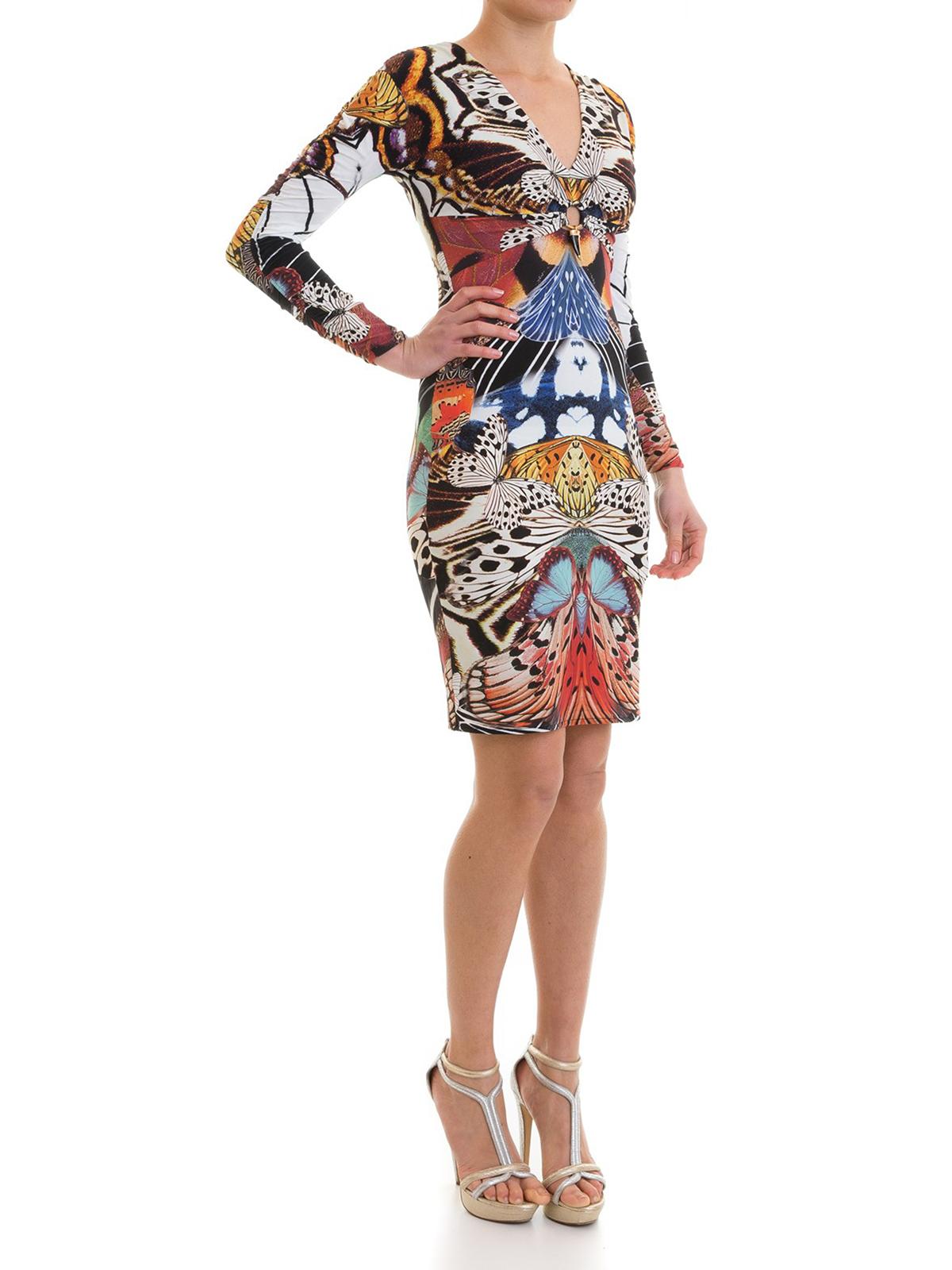 Roberto Cavalli Short Dresses Online Erfly Print Lycra Sheath Dress