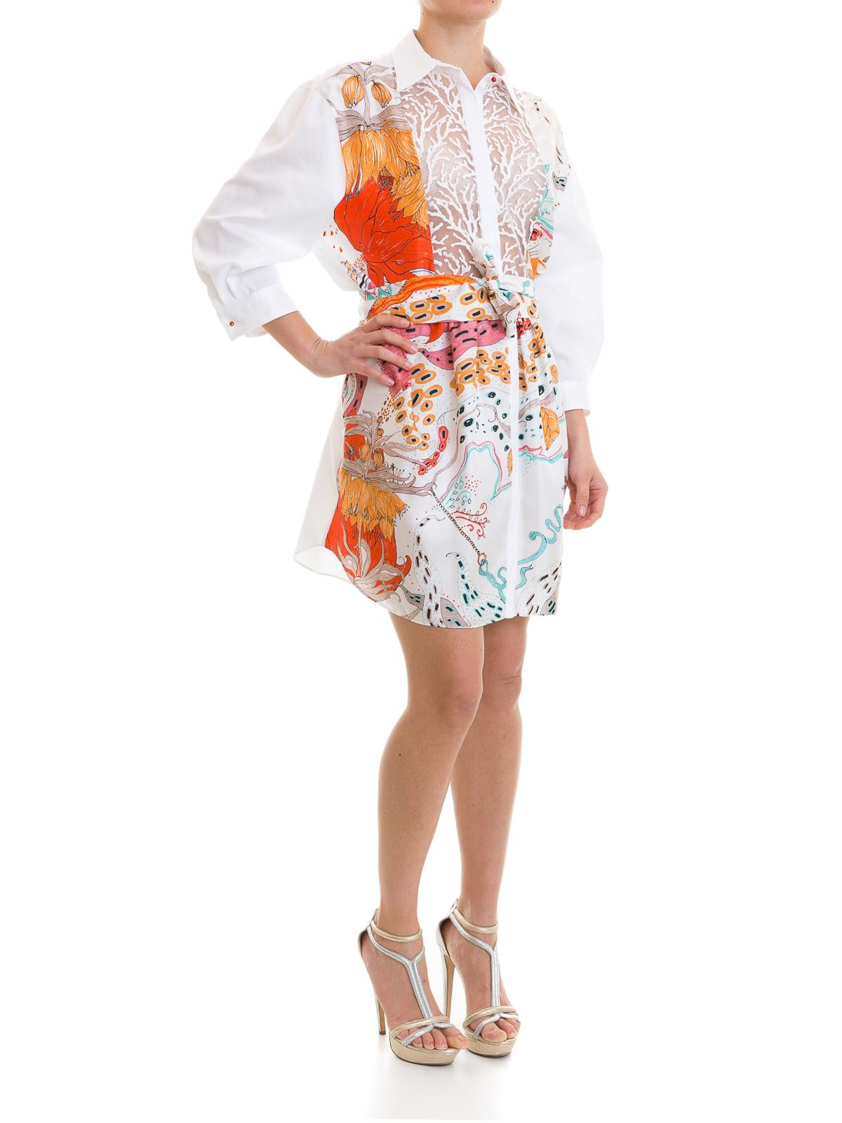 Roberto Cavalli Short Dresses Online C Embroidery Silk Shirt Dress