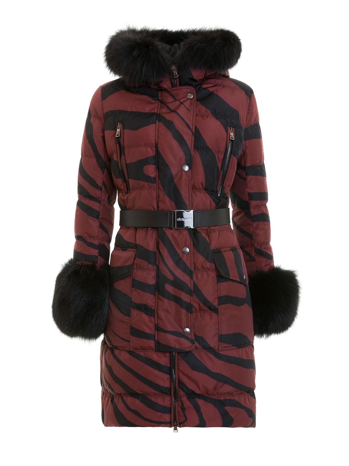 acf53b70a3c0 Roberto Cavalli - Macro Zebra print fur detail padded coat - padded ...