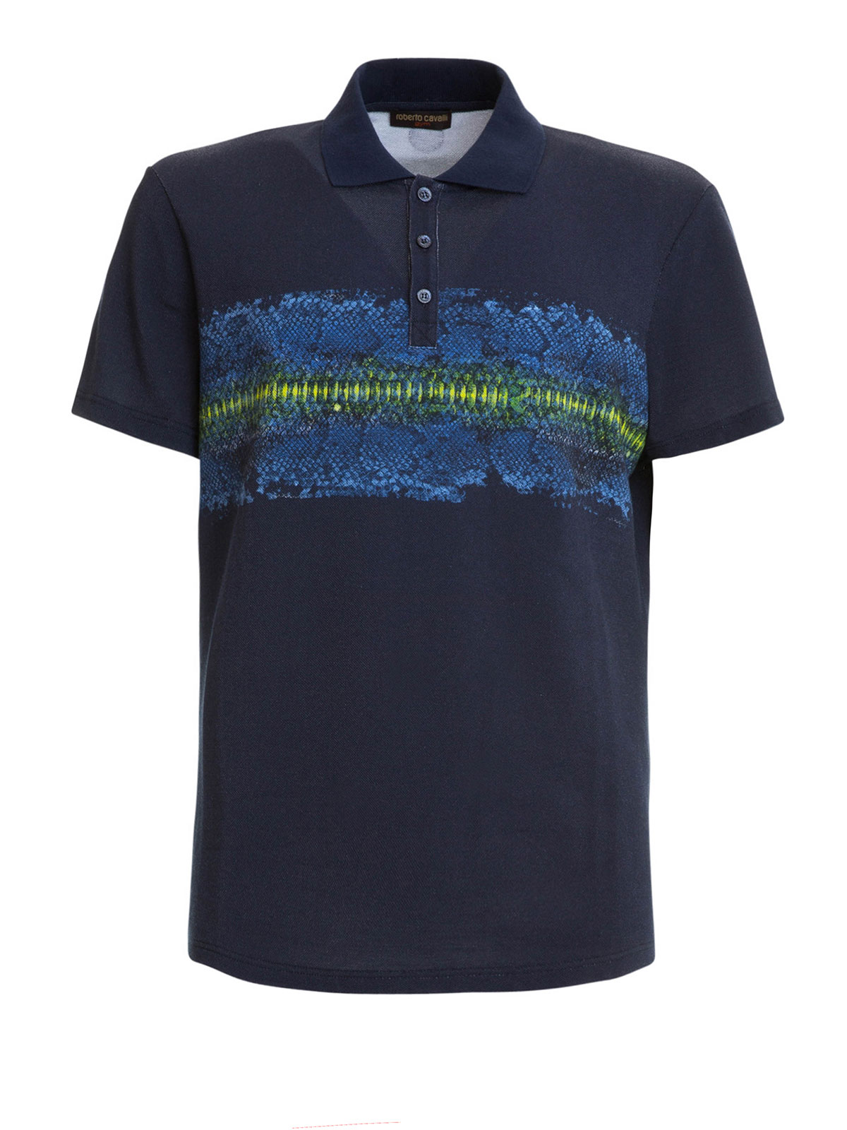 Snake print cotton polo shirt by roberto cavalli polo for Polo shirts for printing