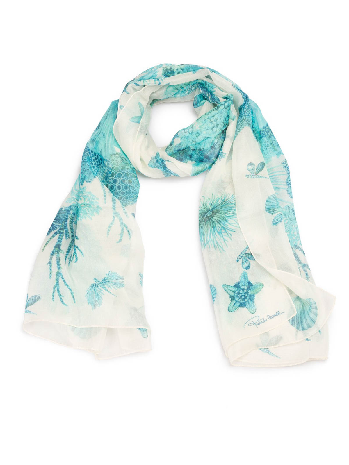 beb6e8bbc9df1 Roberto Cavalli - Coral Reef light blue silk scarf - scarves ...