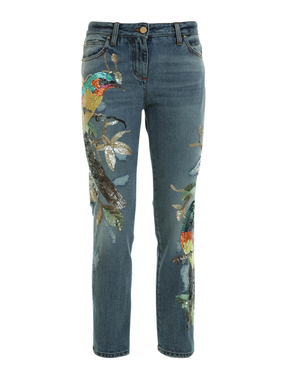 Embroidered capri jeans by roberto cavalli straight leg